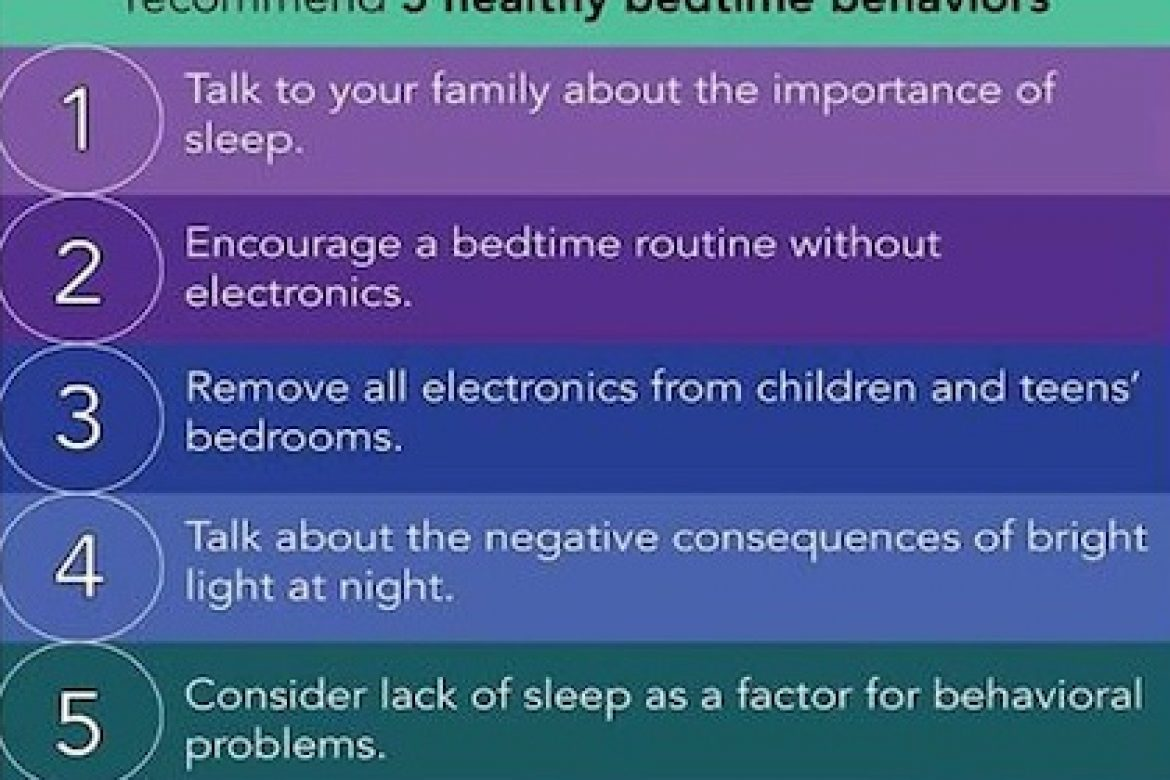 Researchers studying electronic media and sleep recommend 5 healthy bedtime behaviors