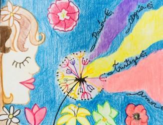 Arts work done by 3rd and 4th graders: Trabajos de arte inspirados en La Jardinera de Violeta Parra (05, Oct)
